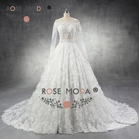 Rose Moda Sang Trọng Dài Tay Áo Ren Wedding Dress với 3D Flowers Tinh Tế Beaded Bóng Gown với Tàu Hoàng Gia Hình Ảnh Thực T