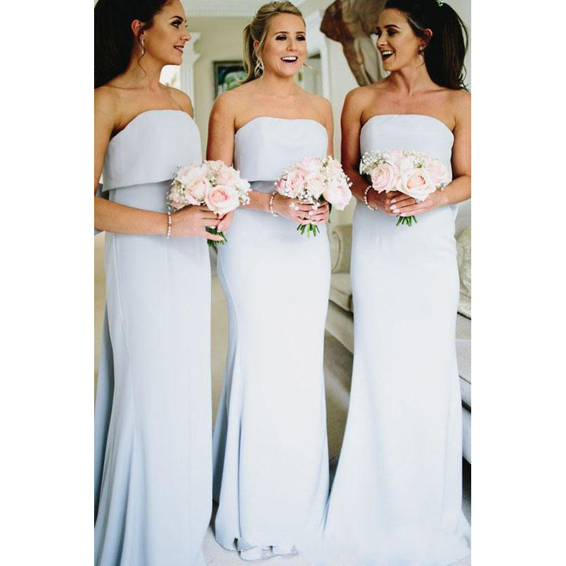 2019   Bridesmaid     Dresses   Strapless Sleeveless Floor Length Formal Weding Guest   Dress   Maid Of Honor Gown