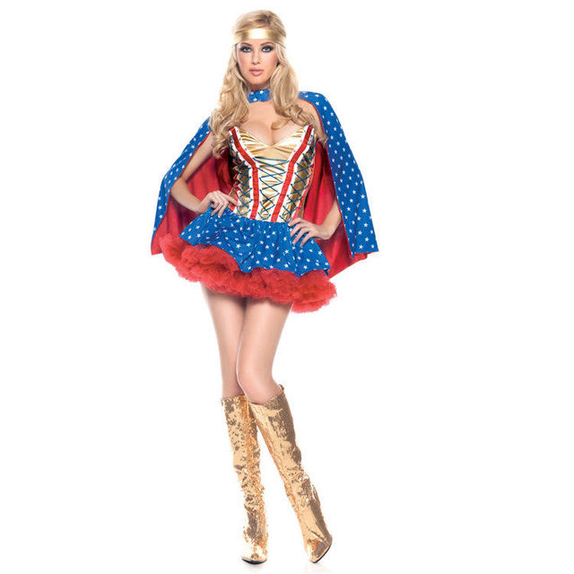 2017 Adult Ladies Hero Girl Costume DC Comic Wonder Woman Superhero Costume Halloween Cosplay Fancy Party  sc 1 st  AliExpress.com & 2017 Adult Ladies Hero Girl Costume DC Comic Wonder Woman Superhero ...