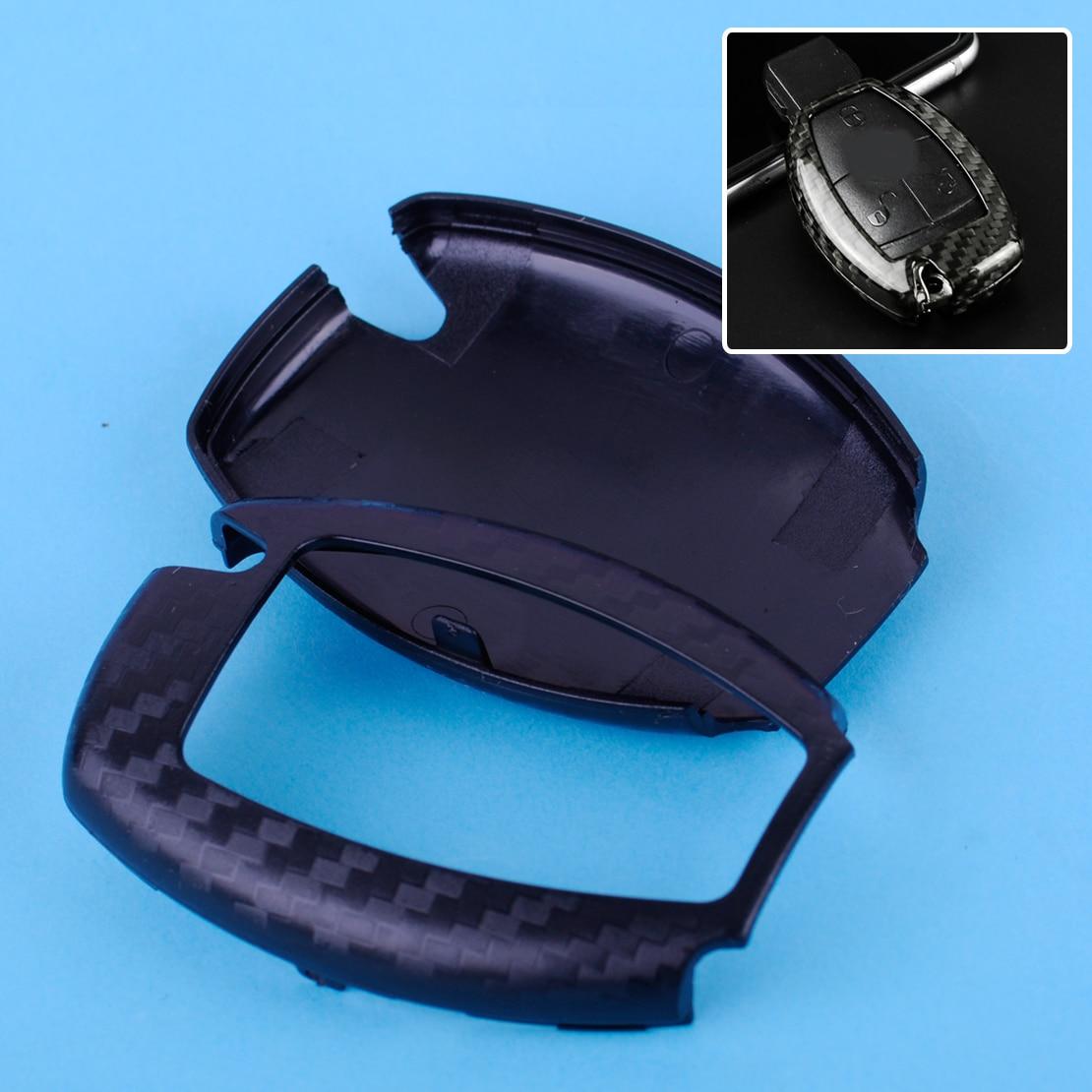 DWCX Noir Deluxe Fiber De Carbone À Distance Sans Clé Clé de Cas de Couverture Shell Fob fit pour Mercedes Benz A160 A180 A190 A200