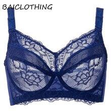 Ultra-thin Womens Comfortable Lace Full Coverage Underwire Big Size Bra Women Lingerie 34 36 38 40 42 44 46 48 B C D E F