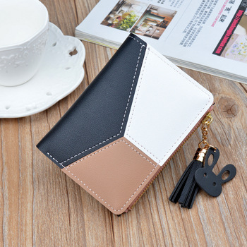 Zipper Purse Patchwork Panelled Wallets Trendy Coin Purse Card Holder Leather. 5