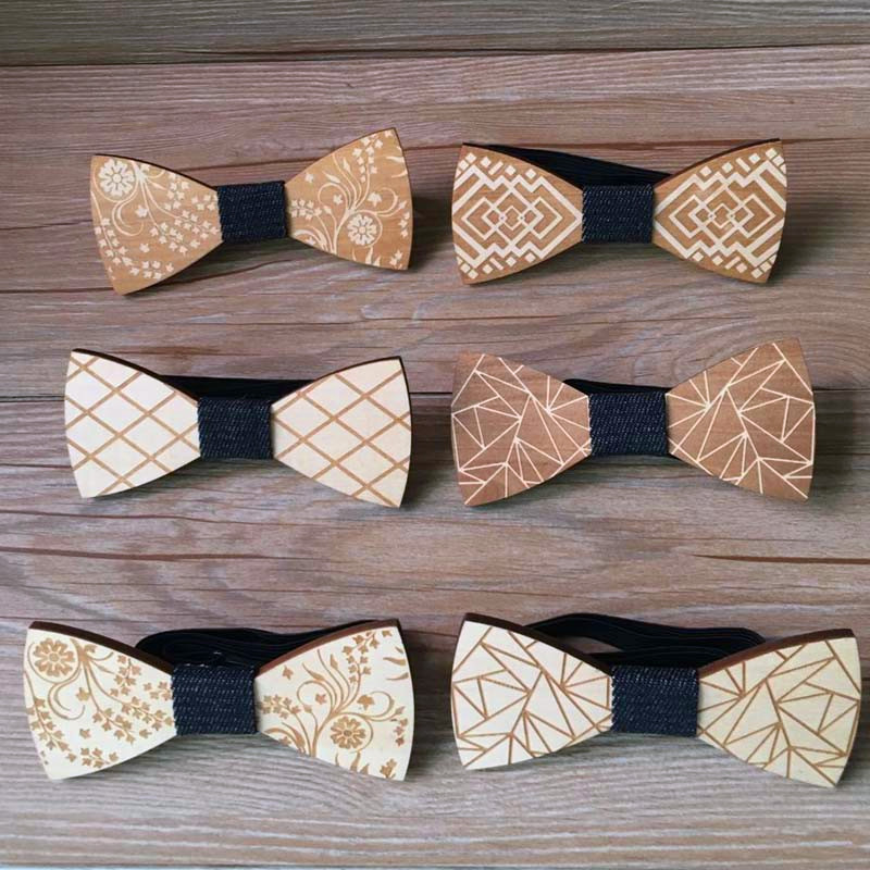 Fashion Original Wooden Bow Tiet Gentleman Groom Wooden Necktie Butterfly Wedding Party Bow Ties Butterfly Wooden Tie For Man