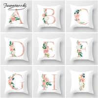 Fuwatacchi colorido alfabeto inglês capa de almofada sofá decoração para casa rosa flor carta fronha decoração do quarto dos miúdos
