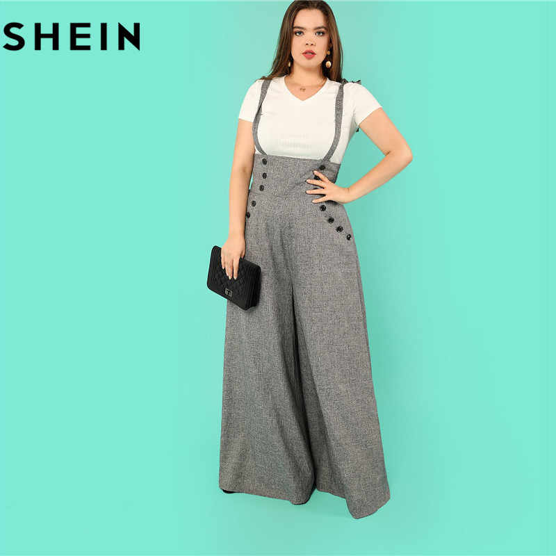 b5068aba0a ... SHEIN Grey High Waist Wide Leg Straps Plus Size Office Lady Long  Jumpsuits 2018 New Flare ...