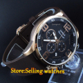 44mm parnis black dial golden case week Full chronograph quartz mens watch