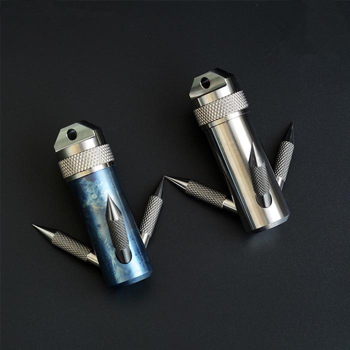 Titanium Capsule Grappling Hook Container Waterproof Storage Box EDC Outdoor Capsule Tablet Cash Pill Survival Box