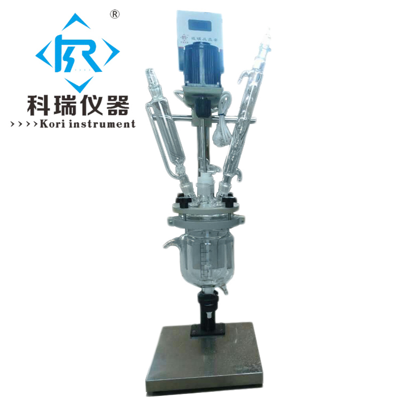China Lab Equipment supplier for 2L glass reactor vessel /chemical jacketed glass reactor price/ Lab reactor small type heating dual chemical reaction kettle 2l jacketed flask glass reactor with teflon stirrer