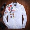 Весной Новый Мужская Бомбардировщик Армия Тактический Aeronautica Militare Куртки Off Белый Военный Вышивка Ветровка Chaqueta Hombre