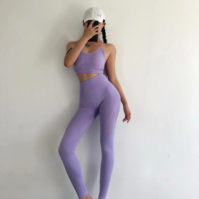 Leggins sin costura + sujetador de tiras unids 2 piezas conjunto de Yoga para mujer ropa de Fitness para gimnasio de cintura alta Leggings de Yoga conjunto ropa deportiva para correr