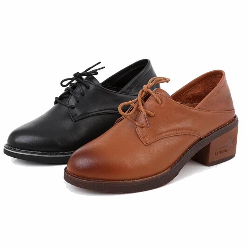 Pompes Porter Pointu Pour marron En Cuir Dentelle Femmes Épais De Haut Bout Deux 2018 Chaussures Noir Talon Gktinoo Véritable up Dame Way Mode 87wxRfxqz