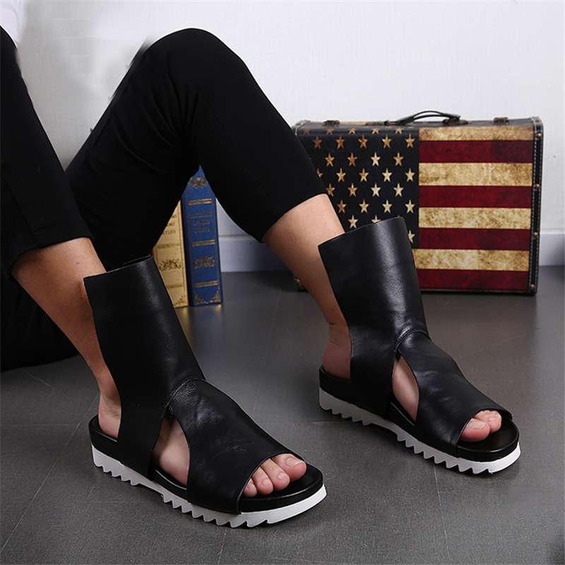 Summer Hollow Out Ankle Boots Men Beach Flat Gladiator Sandals Leather Slippers Male Casual Creepers Shoes Mocassin Flats gladiator sandals 2017 summer style comfort flats casual creepers platform pu shoes woman casual beach black sandals plus us 8