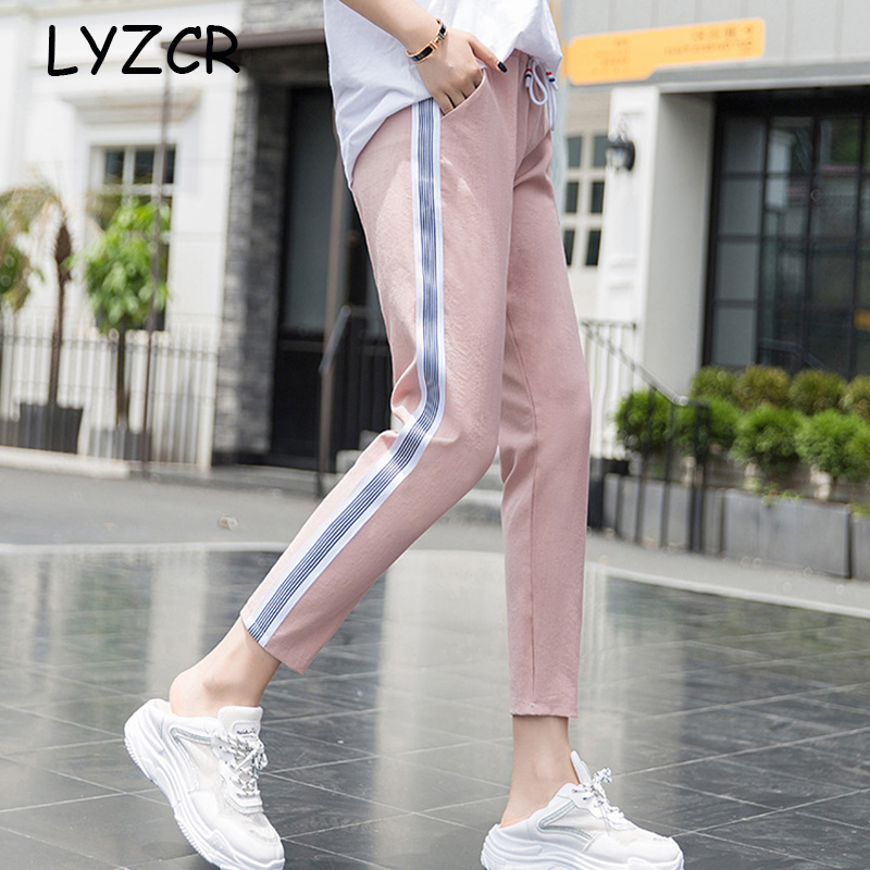 Striped Classic Cotton Line Sports Pants For Women Summer Loose Harem Pants With Stripes Female Women's Trousers Casual