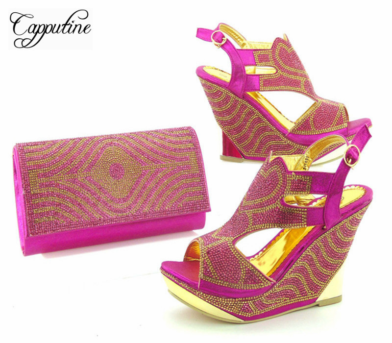 Capputine New Arrival Italian Fuchsia Color Shoes And Bag Set Africa Style Wedges Heels Shoes And Matching Set For Party  africa style pumps shoes and matching bags set fashion summer style ladies high heels slipper and bag set for party ths17 1402