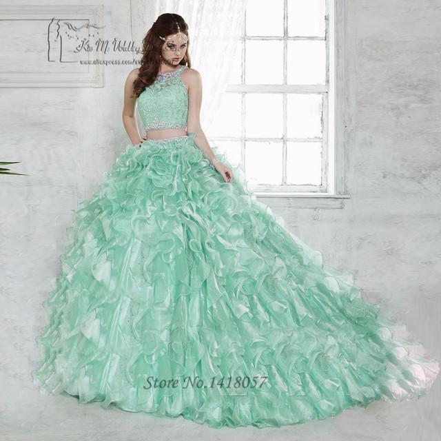 Doce 16 Vestidos de Baile Barato Verde Menta 2 Peça Vestidos 2017 Cristais Lace Vestido de Debutante Quinceanera Vestidos de 15 Anos