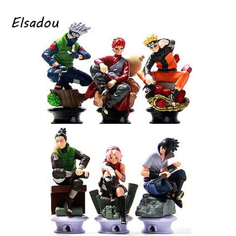Elsadou 6pcs/set Janpanese Anime Naruto Kakashi Gaara Sakura Action Figures Toy Doll