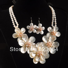 Hot Sell!  Mother of pearl MOP shell pearl flower pendant earrings necklace set 20″