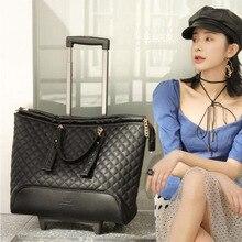 Carrylove 16 дюймов Маленькая кожаная сумка на колесиках для путешествий с колесиками