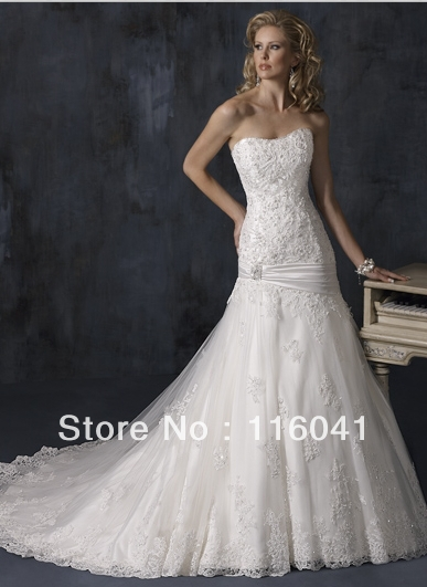 popular dropped waist beaded lace wedding dresses high quality famous designer tulle lacechina