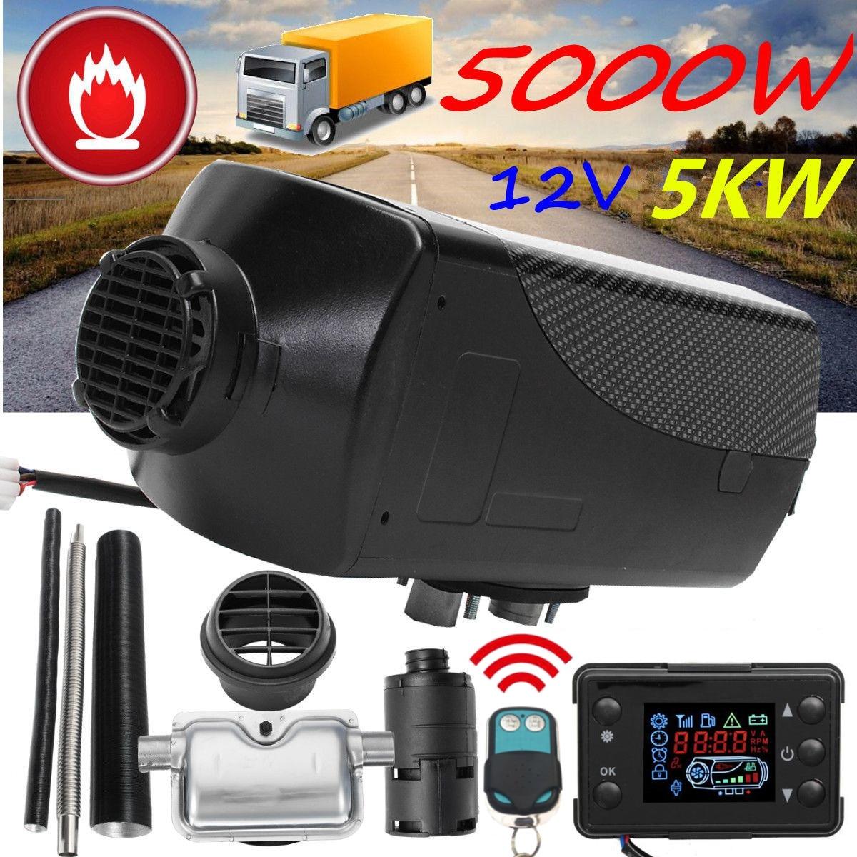 12 V 5000 W Monitor LCD Único Furo de Ar diesel Aquecedor De Combustível 5KW Para Caminhões Ônibus Barcos Com Controle Remoto e Aquecedor Do Carro Silenciador