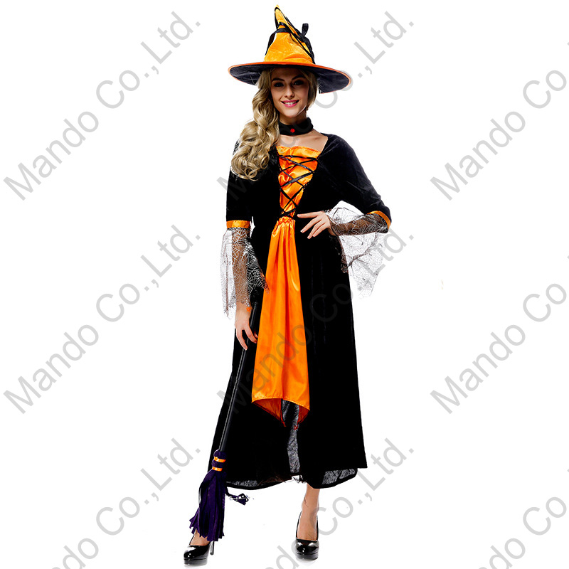 Black Orange Women Sexy Witch Cosplay Dress halloween fancy costume party dress carnival outfit