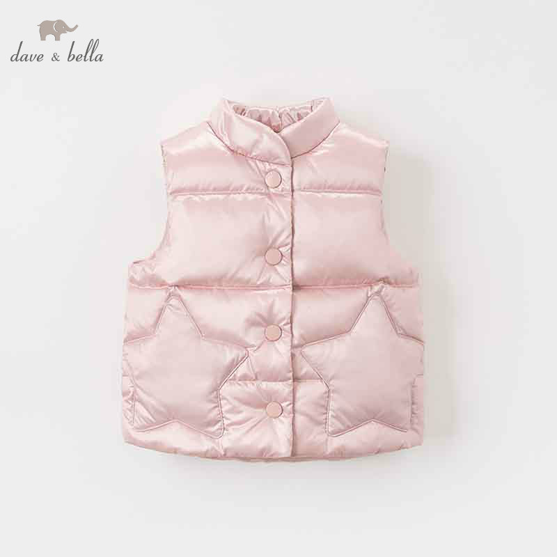 DB8607 dave bella autumn winter baby girls sleeveless lovely coat children high quality coat kids light