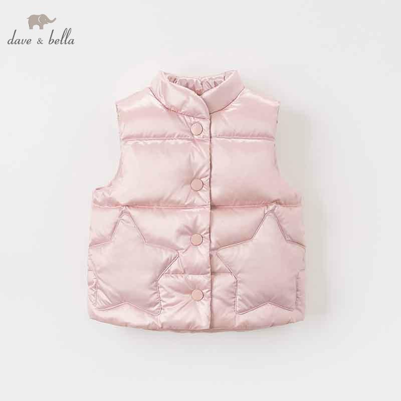 DB8607 dave bella autumn winter baby girls sleeveless lovely coat children high quality coat kids light gray vest 1 pc