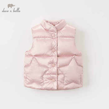 DB8607 dave bella autumn winter baby girls sleeveless lovely coat children high quality coat kids light gray vest 1 pc - DISCOUNT ITEM  50% OFF All Category