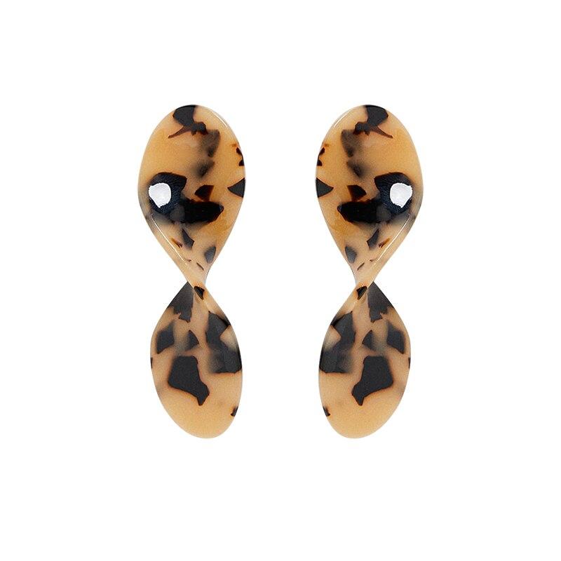US $2 51 30% OFF|2018 amazon best sellers tortoiseshell earrings spiral  acetate plates stud earrings leopard acrylic earrings for women-in Stud
