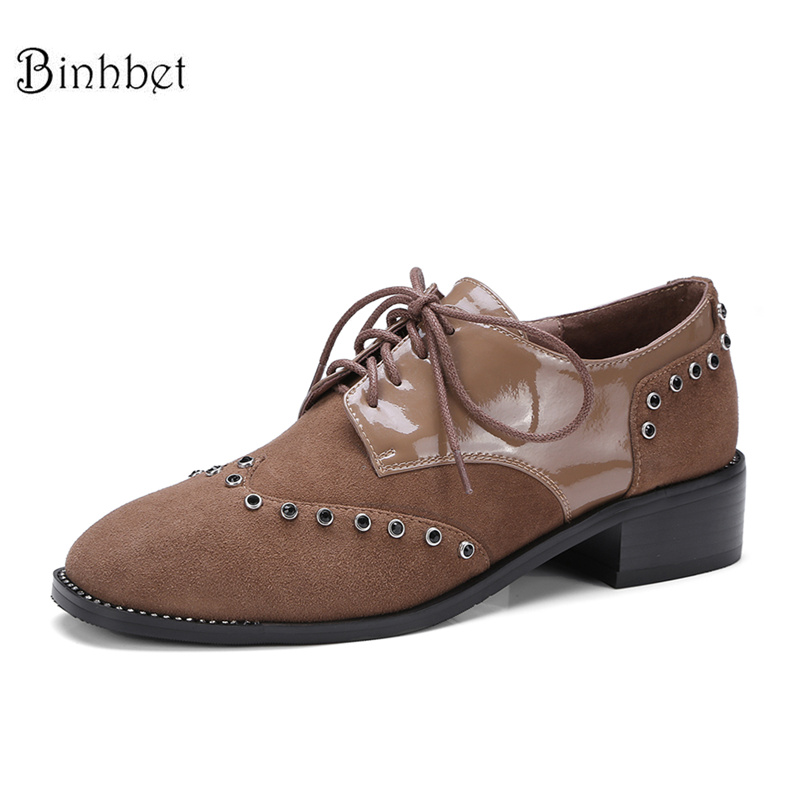 Binhbet Women Flats Oxford Shoes Big Size Flat Genuine Leath Vintage Shoes Round Toe Handmade Black 2018 Oxfords Shoes for Women new fashion round toe carved brogue oxford shoes for women vintage lace up women oxfords big size 34 43 ladies casual flats