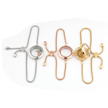 Carvort 25mm 30mm 316L Stainless Steel Magnetic Locket Bracelet Floating Charms Clear Glass with Adjustable Chain
