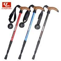 Campleader New Anti Shock Hiking Walking Trekking Trail Poles Ultralight 4-section adjustable canes walking sticks T cork Handle