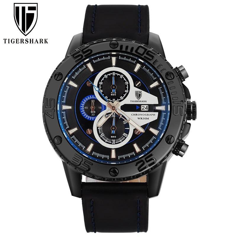 2016 TIGERSHARK china brand luminous bluedial watches men sport chronograph 30M waterproof date genuine leather wristwatches