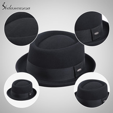 Sedancasesa New 2018 Fashion 100% Australia Wool Men's Fedora Hat with Pork Pie Hat for Classic Church Wool Felt Hat FM017028