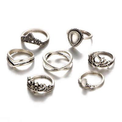 WLP novo anel da junta do dedo retro Boêmio folha Coroa anel da cauda conjunto anel de prata antigo esculpido étnico Boho cigana conjunto anel midi