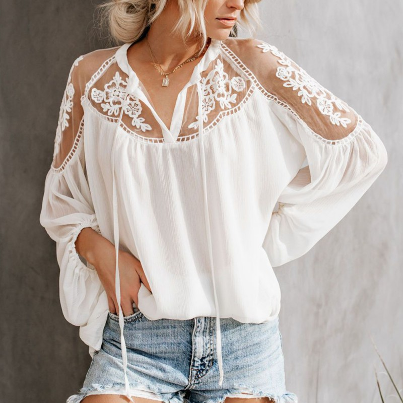 Women Sexy Lace Mesh Chiffon Blouse Shirt Casual Long Sleeve Embroidery Patchwork Loose Tops Shirts Ladies Female Blusas Mujer