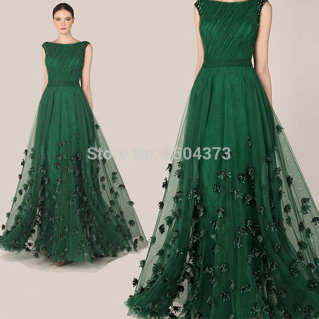 9dad69739154 Elegant Dark Green Long Tulle Evening Prom Dresses With Boat Neck Sash  Special Occasion Wedding Guest Dress Custom