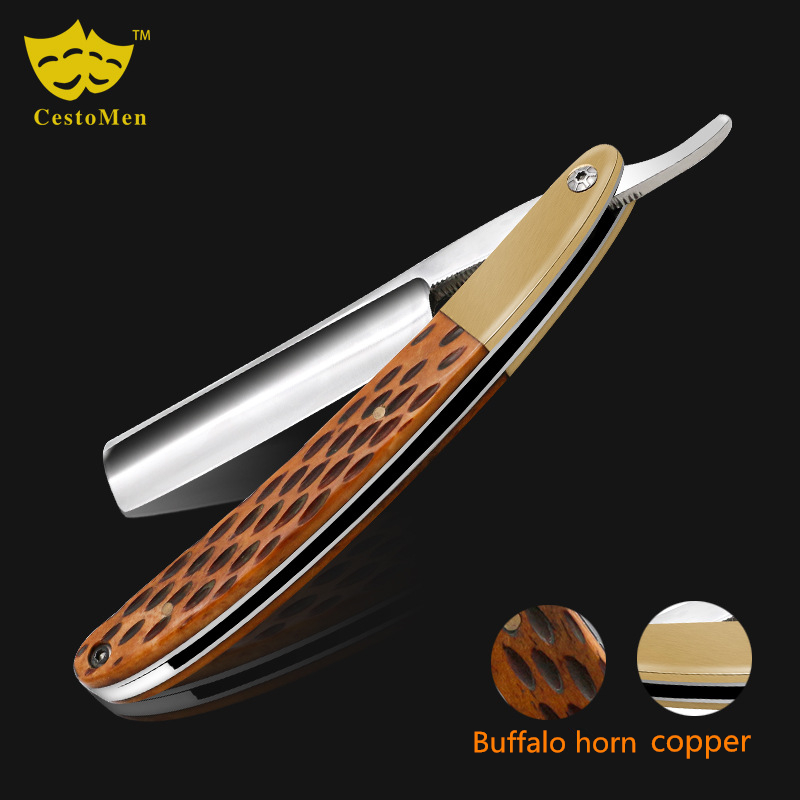 Buffalo Horn +440C Stainless Steel Barber Beard Shaving Razor Old-Fashioned Manual Barber Hair Blade Changeable Shaving Knife