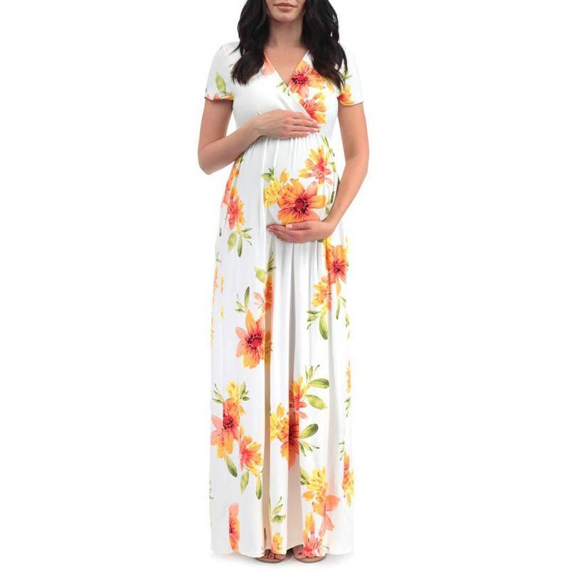 Short Sleeve Maternity dress Print Pregnant Clothes Dress clothing women Maternity Print Long pregnant Dress