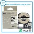 24 мм лента для маркировки LC-6WBN черный на белом совместимый labelworks/tepra принтер