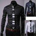 Мужчины рубашка Темно зерна ling мода досуг Мужчины с длинным рукавом camisa masculina сорочка homme camisas slim fit masculina лацио