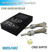 Fanless Cars LED H4 6000k 4300K led bulbs 13200LM H11 H8 XHP70 Chips for H7 55W Headlight 9005 9006 H9 H11 Automobile Fog Lights