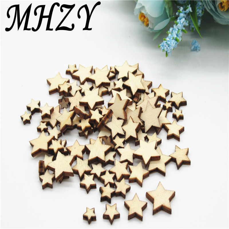100 sztuk 6 ~ 15mm naturalne mieszane rozmiar gwiazdy wzór wzór drewna Scrapbooking ręcznie robione craft do dekoracji wnętrz diy q19