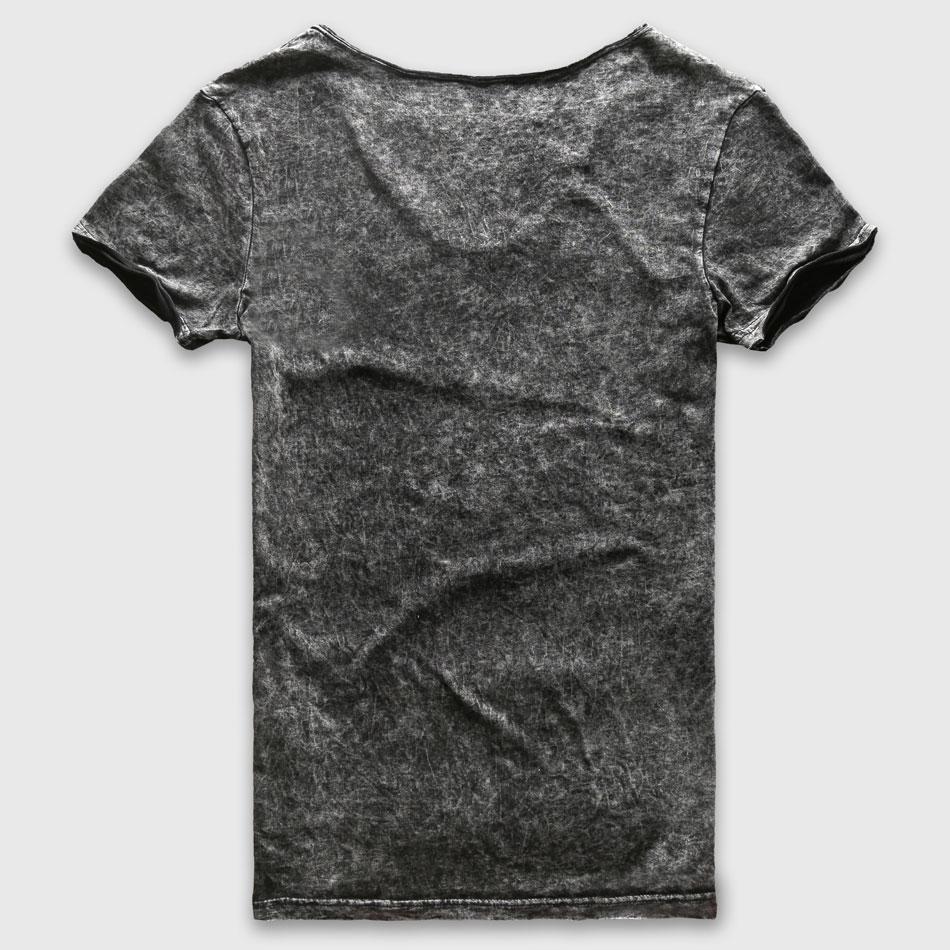 Zecmos Fashion Czarny T-Shirt męski Casual V Neck T-shirty dla - Odzież męska - Zdjęcie 2