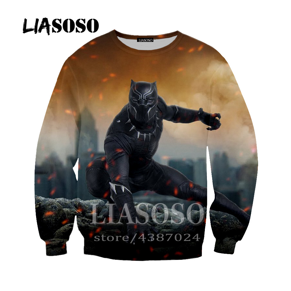LIASOSO brand movie Black Panther 3D printing fashion hoodie men and women spring and autumn sweatshirt S-6XL Outerwear Y220