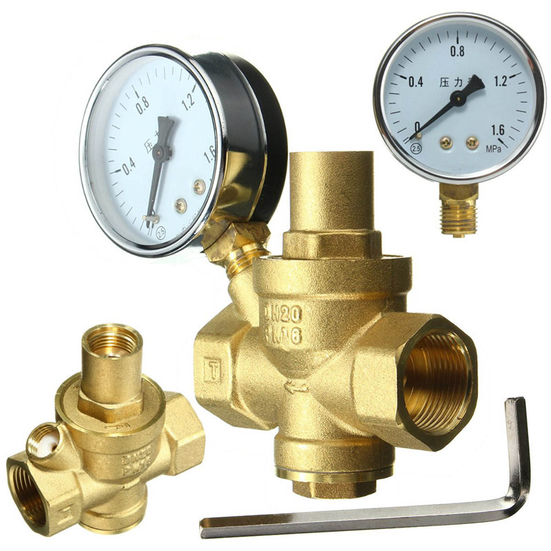 brass dn20 3 4 water pressure regulator valves with pressure gauge pressure maintaining valve. Black Bedroom Furniture Sets. Home Design Ideas