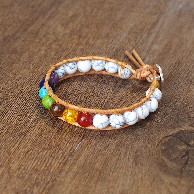 Natural Stone Beads 7 chakra Bracelet & Bangle Yoga Wrap Chakra Charm Leather Bracelet Boho Women Men Fashion Jewelry Gift