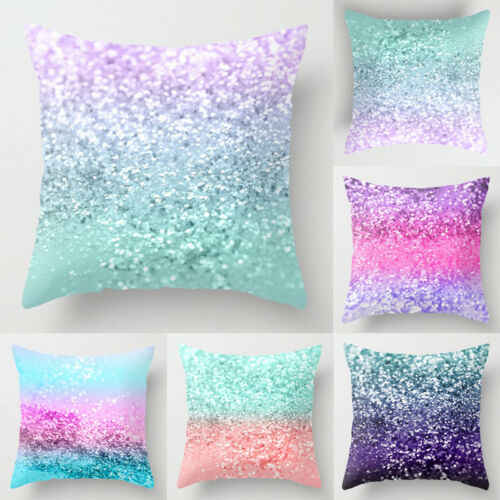 Polyester Pillow Case Cover Star Stylish Cute Print Soft Sequin Glitter Throw Sofa Cushion Cover Home Decor Pillow Case