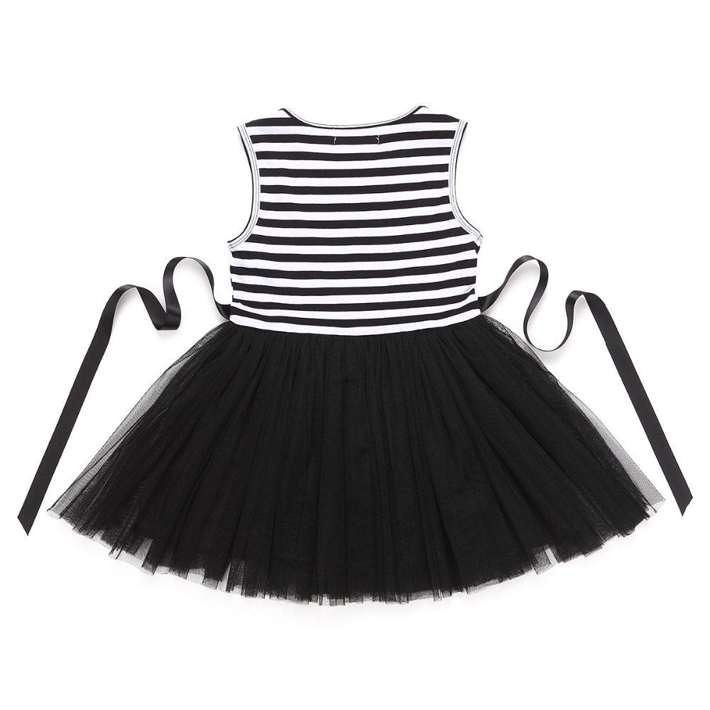 HTB1WaZMQVXXXXXzXVXXq6xXFXXXK - Baby Girls Dress 2017 Summer Casual Striped Princess Dresses sleeveless Black and White Stripes Mesh Dress Children Clothing