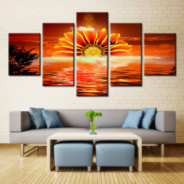Sunflower Sunset Fashion Flower Oil Painting on Canvas Landscape Wall Art for Home Decorations Modular High & Sunflower Sunset Fashion Flower Oil Painting on Canvas Landscape ...